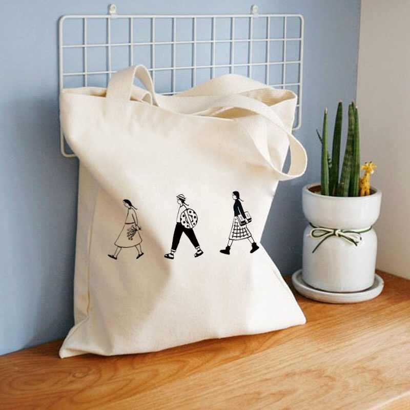 2019 senhoras bolsas de lona de pano tote saco de compras de algodão viagem feminina eco reutilizável ombro shopper sacos bolsas