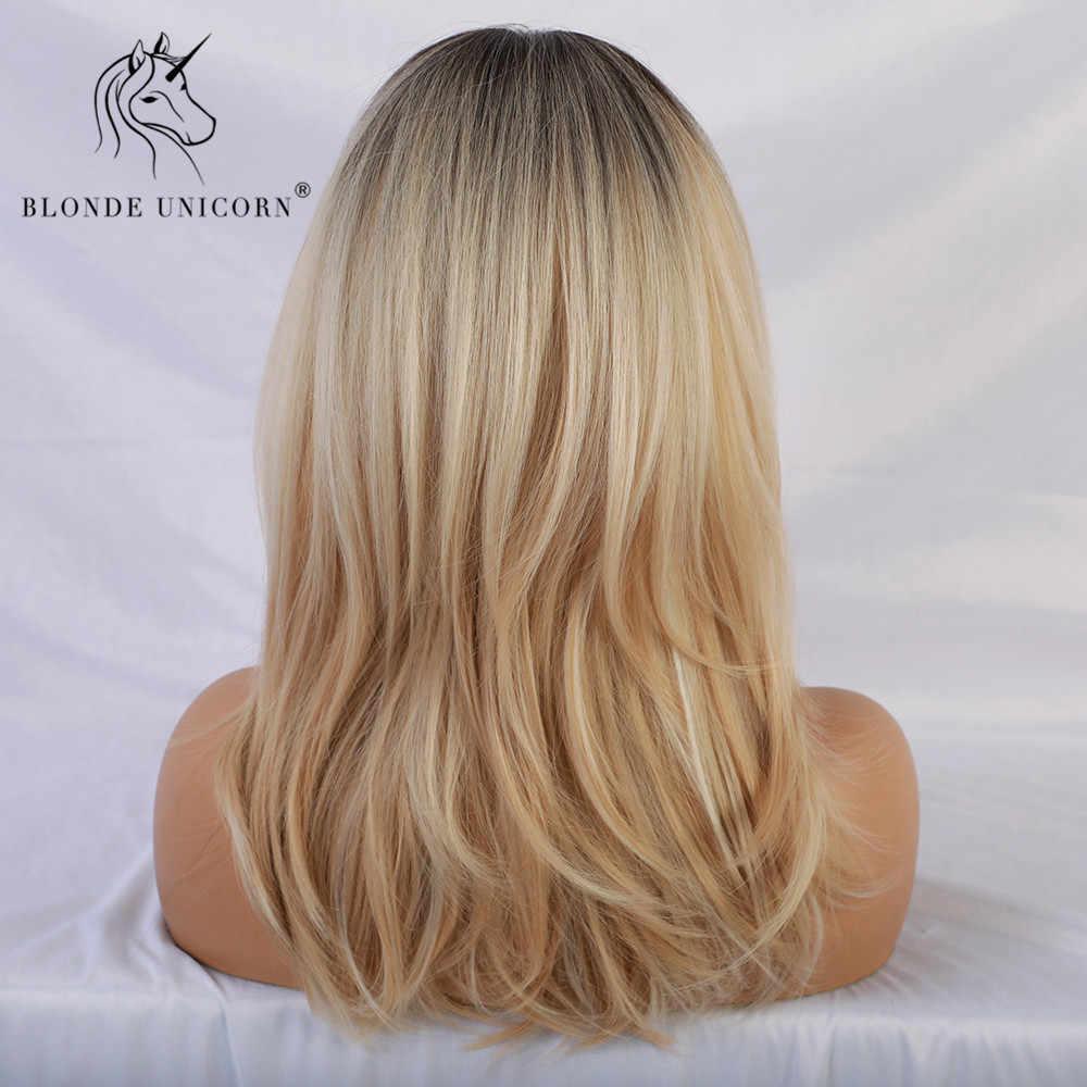 Blonde Eenhoorn Synthetische Pruiken Met Pony Kant Natuurlijke Wave Dark Root Blond Trendy Pruik Voor Wit/Zwart Vrouwen Afrikaanse amerikaanse