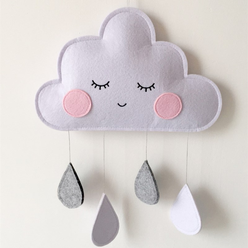 Felt Cloud Raindrop Pendant Wall Hanging Ornament Ins Nordic Style Kids Room Decorations Baby Bed Tent Nursery Decor Photo Props