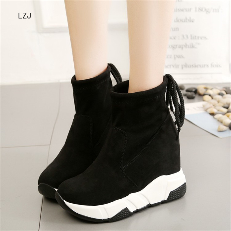 LZJ Women Ankle Boots Platforms Shoes Woman High Heels Inside Height Increasing Faux Suede Boots Lace Up Sneakers 35-39