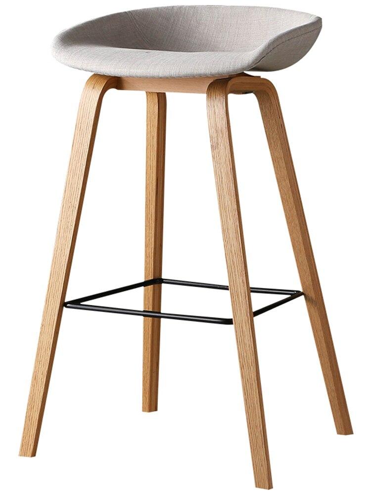 Modern Simple Danish Bar Chair Northern Europe Fashion Bar Chair Creative Bar Stool Designer Solid Wood High Stool