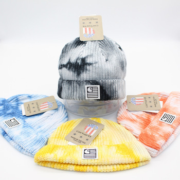 High Quality Tie Dye Embroidered Hat Landlord Hat Yapi Cold Hat Men's and Women's Woolen Hat Autumn Winter Curling Knitted Hat image