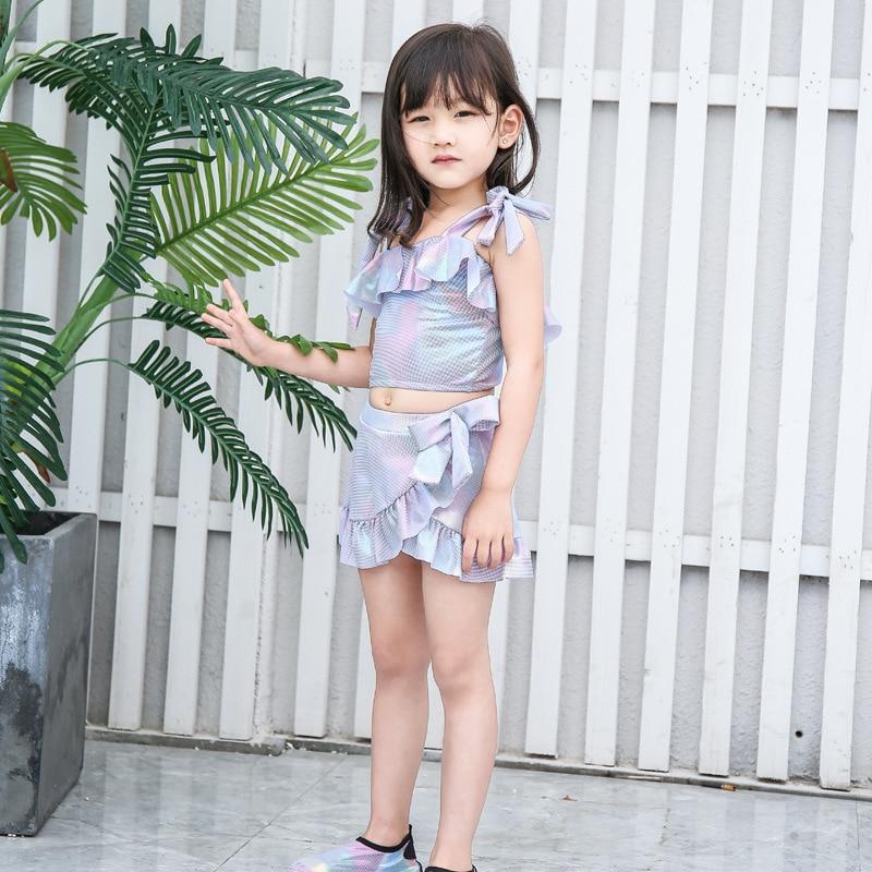 New Style 2019 Bronze Cloth Korean-style Children Split Type GIRL'S Swimsuit Cute Skirt Children Baby Swimwear