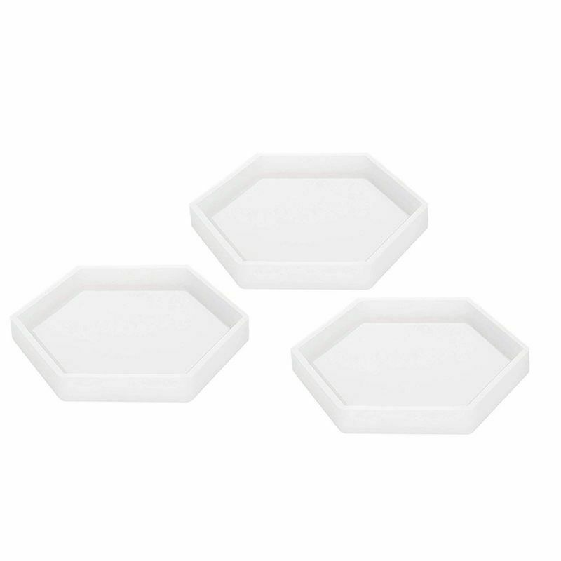 3 Pack Hexagon Silicone Coaster Molds Silicone Resin Mold, Clear Epoxy Molds For Casting With Resin, Concrete, Cement And Poly