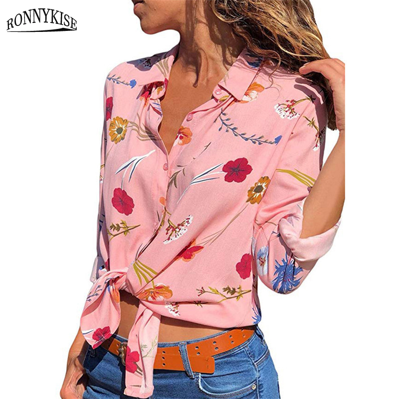 RONNYKISE Chiffon Shirts Womens Fashion Long-sleeved Printed Blouses Casual Summer Autumn Ladies Tops