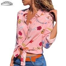 RONNYKISE Chiffon Shirts Womens Fashion Long-sleeved Printed Blouses Casual Summer Autumn Ladies Tops
