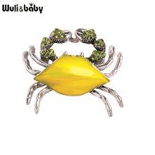 Wuli & bebê esmalte caranguejo broches strass adorável caranguejo animal unissex festa casual broche pinos presentes