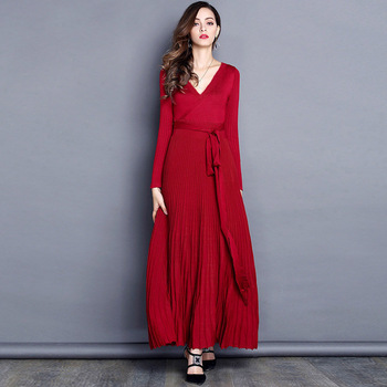 Sexy V Neck Long Knitted Sweater Dress Casual Party Dresses Women Evening Elegant Belt Ribbed Winter Maxi Women Pleated Dress bohemian style women dress sexy vintage maxi polka dot v neck wrap dress elegant women dresses evening party high waist dresses