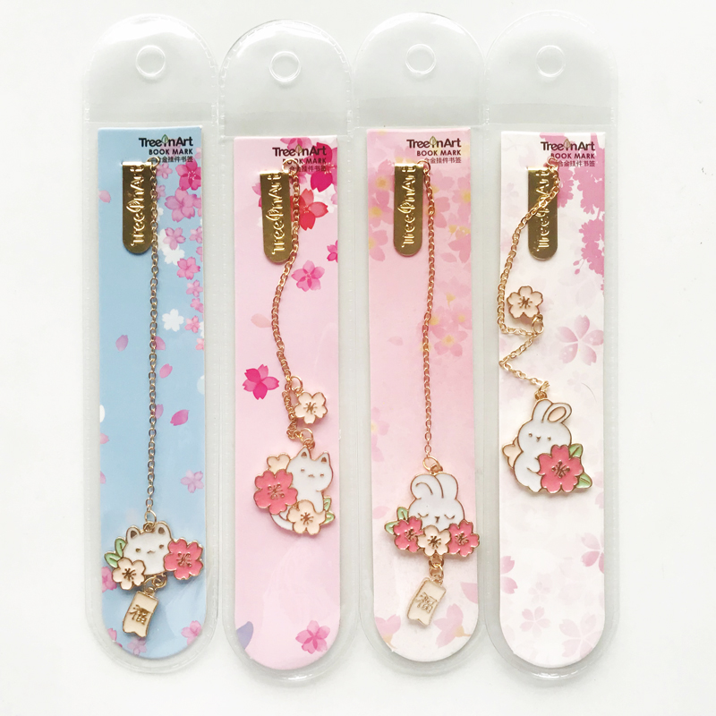 Kawaii Rabbit Cat And Sakura Metal Chain Pendant Bookmark Marker Of Page School Office Supply Student Stationery