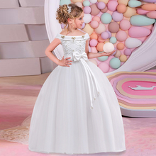 4-14 year old child girl wedding flower dress elegant princess party beauty lace back hollow tulle long LP-63