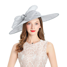 Royal Wedding Church Fedoras Hats Women Elegant Kentucky Derby Hat Fascinator Bridal Cap British Tea Party Gray Linen