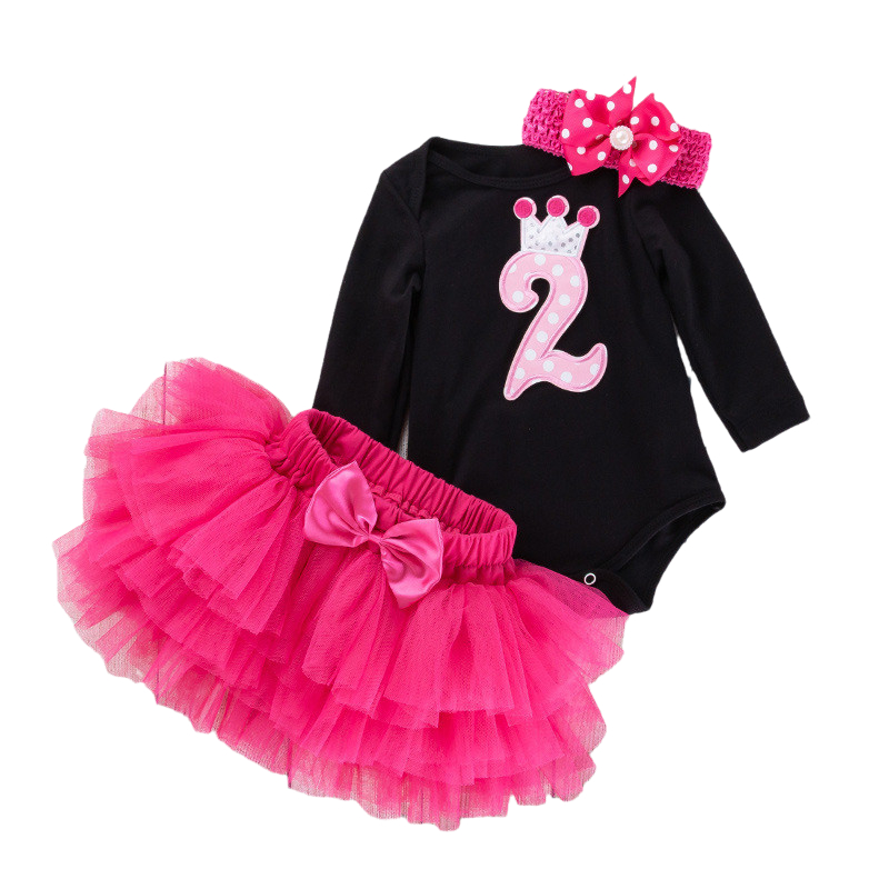 Baby Girls 2 Years Old Birthday Party Dress Infantil 2nd Birthday Christening Costume Newborn Outfit