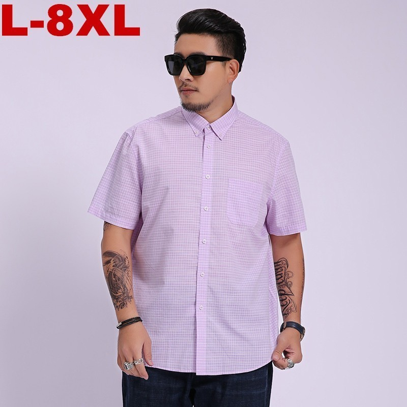 2020 New Arrival Mens High Quality Fashion Super Large Plaid Summer Men Short Sleeve Cotton Shirt Casual Plus Size 8xl 7xl 6xl