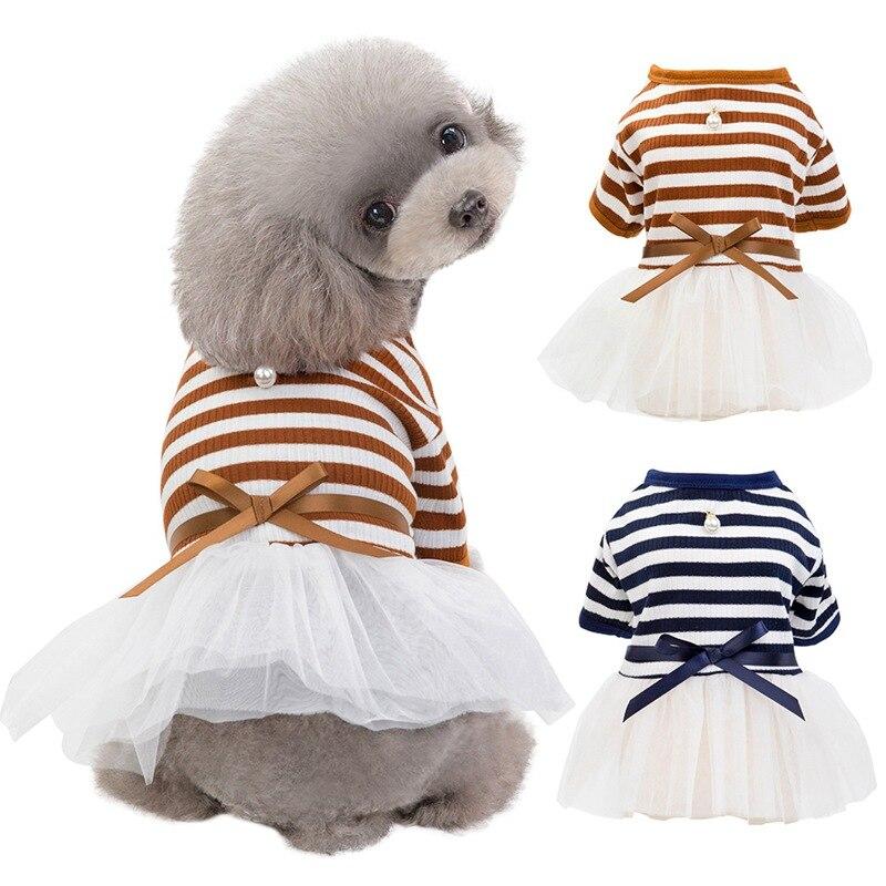 Puppy Cat Princess Dress Clothes Pet Dog Stripes Pearls Gauze Tutu Dress Skirt Cotton Short Sleeves T-shirt Apparel