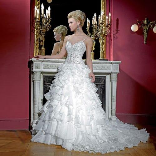 Free Shipping Sexy Romantic 2016 Casamento Beading Vestido De Noiva Renda Bridal Gown Crystal Ruffles Organza Wedding Dress