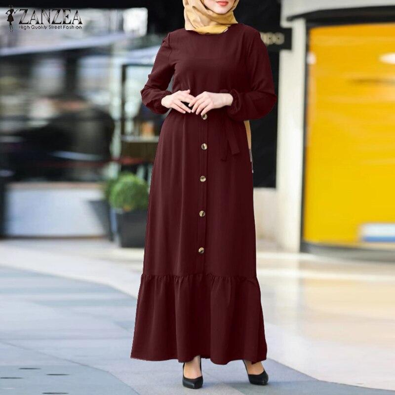 Retro Muslim Dress Women's Solid Sundress ZANZEA 2021 Casual Puff Sleeve Maxi Vestidos Belted Female Button Robe Oversized 5XL