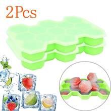 2 uds., bandeja de hielo de silicona con forma de huevo, molde de cubo de hielo, contenedor de almacenamiento, fabricante de cubos de hielo @ T