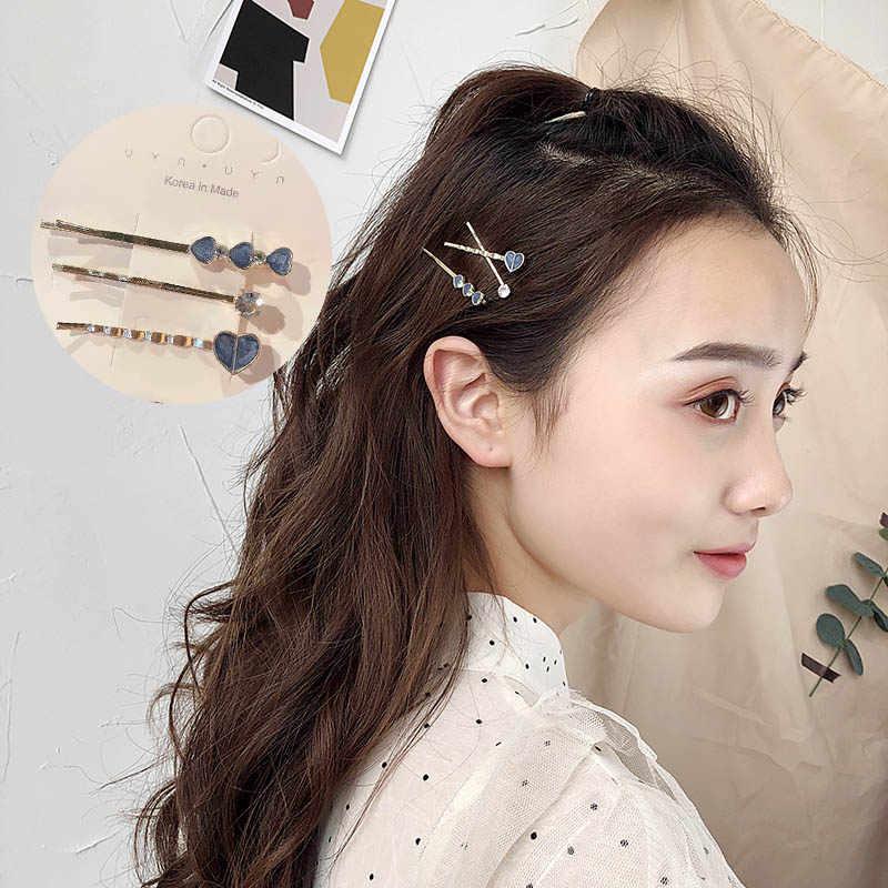 3 шт./компл., женские элегантные заколки для волос BB со звездой, луной, заколки для волос с жемчугом, минимализм, заколки для волос, модные аксессуары для волос