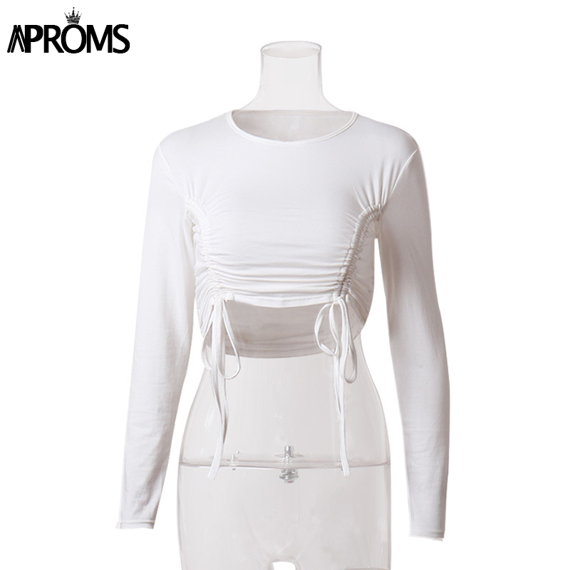 Hec28f7920cab44ec9d4421b710649523p - Aproms Sexy White Long Sleeve Crop Top Autumn Casual Drawstring Ruched T-shirt Female Cropped Tshirt Top for Women Clothing