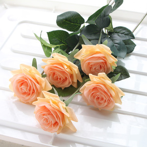 Image 3 - 7 Pcs Real Touch Rose Branch Stem Latex Rose Hand Feel Felt Simulation Decorative Artificial Silicone Rose Flowers Home Wedding