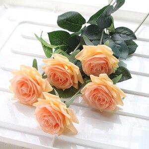 Image 3 - 7 Uds. De rosas de látex con toque Real, tallo de Rama, rosa, decoración de imitación de fieltro, rosas artificiales de silicona, flores para el hogar y la boda