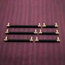 5PCS Cabinet Handles Solid Brass Cupboard Wardrobe Pulls Black/Brown Leather Hardware Drawer Door Handles Home Furniture Decor