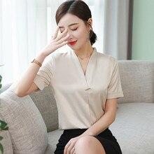 Korean Women Silk Shirts Women Satin Blouses Women V Neck Blouse Tops Plus Size Office Lady Solid Blouses Blusas Mujer De Moda