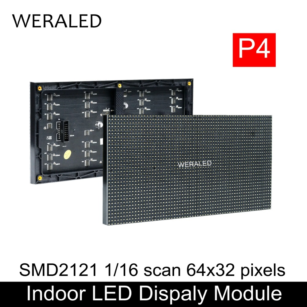 WERALED RGB P4 LED Displays Module, SMD 3 In 1 RGB P4 Indoor Full Color LED Panel, 256*128mm 64*32dots P4 Black Lamp LED Module