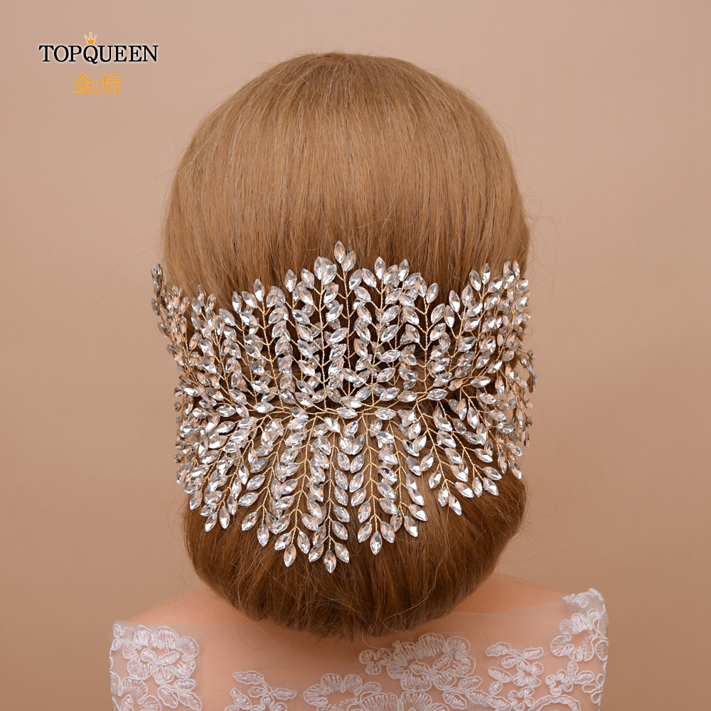 TOPQUEEN HP238-G Golden Rhinestone Wedding Headband Gold Kind Tiara Luxury Crown Wedding Hair Jewelry Crystal Wedding Crown