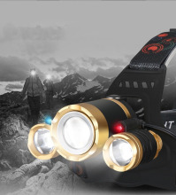 3LEDS Headlamp Red Light Outdoor Headlight Waterproof Flash Head Lamp Torch Lantern For outdoor Hunting