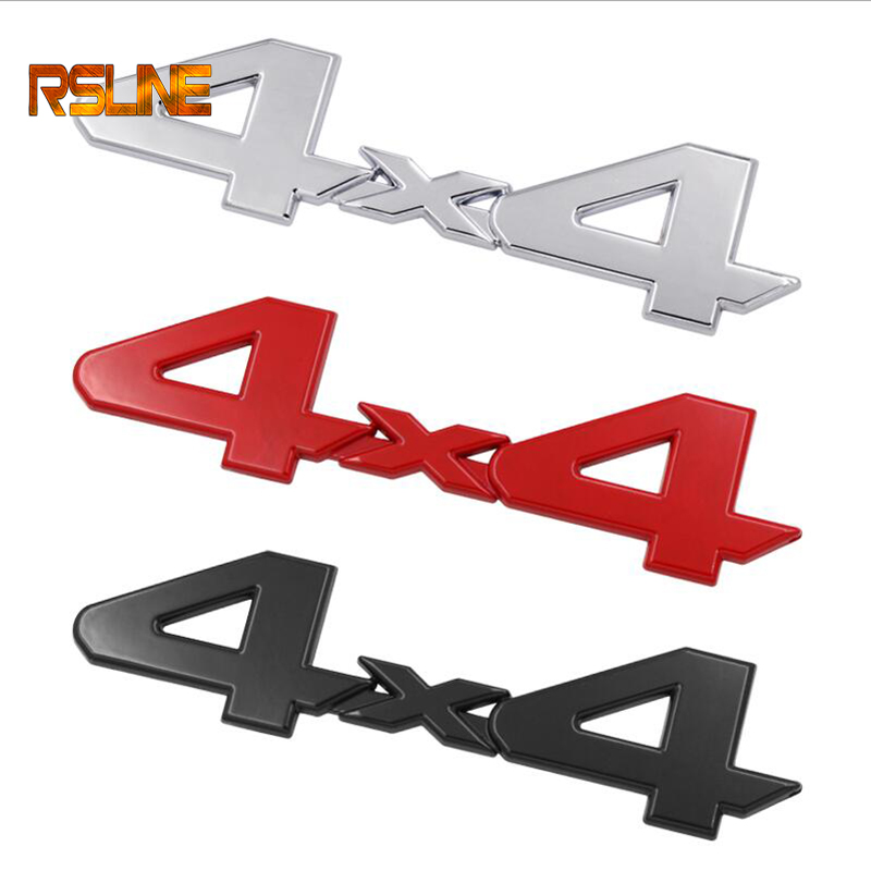 Metal+Aluminum 3D 4x4 Displacement Car Stickers Logo Emblem Badge Truck Auto Motor Car Styling Sticker Decal  Black Silver Red