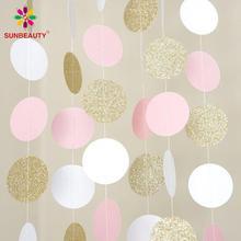 Guirnalda circular grande de 11 pies con purpurina dorada, blanca y rosa para boda, eventos, fiesta, cumpleaños, decoración de baño de bebé, decoración de habitación de niños