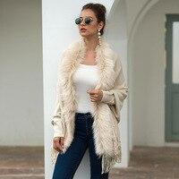 Autumn Winter Warm Cashmere Sweater Faux Fur Cardigan Poncho Warm Thick Coat 2019 Women Casual Loose Shawl Coat