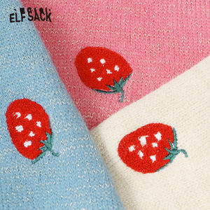 Image 4 - ELFSACK Embroidery Strawberry Pearl Button Casual Cardigan, Women 2019 Autumn Long Sleeve Golden Silk Sweet Korean Sweater