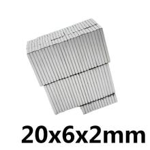 20/50/100 шт прочных квадратный NdFeB Редкие N35 земли неодимовый магнит 20*6*2 мм неодимовые магниты 20 мм x 6 мм x 2 мм