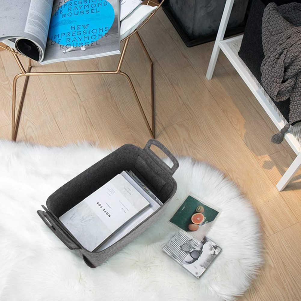 อุปกรณ์เสริม Felt Home Office ซักรีดกล่องตะกร้าเก็บตะกร้าพับเก็บได้ถังมือถือ Desktop Organizer จับของเล่นหนังสือ