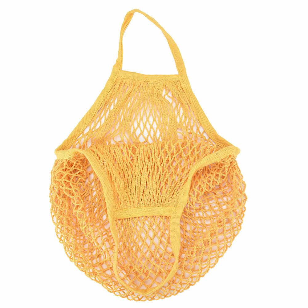 Venda quente Rede de Malha Saco de Compras Bolsa de Ombro Longa Alça Reutilizáveis Sacola de Compras de Supermercado Sacos de Malha Tecido Líquido Da Cadeia de Frutas # L10
