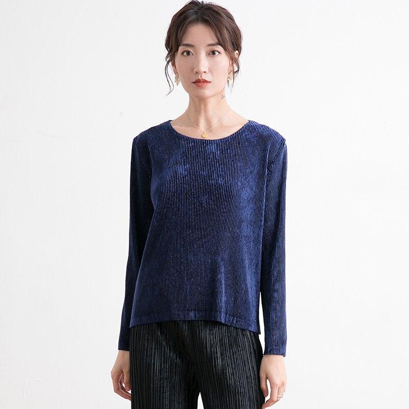 Ropa de terciopelo para mujer moda 2019 nuevo estilo en otoño e invierno doble terciopelo mangas largas camiseta de mujer