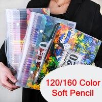 Brutfuner 120/160 컬러 소프트 오일 연필 세트 150 수채화 연필 색칠 공부 연필 어린이 Skechers 학생 드로잉 선물