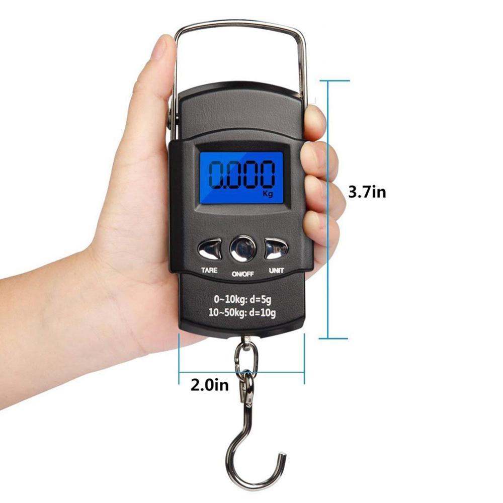 50Kg 10g Mini Digital Scale for Fishing Luggage Travel Weighting Steelyard Hanging Electronic Hook Scale Kitchen Weight Tool image