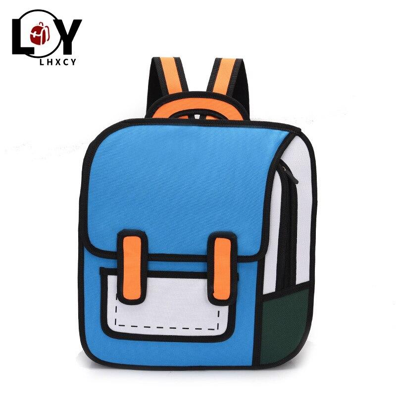 High Capacity 3d Printing Canvas Backpacks 2d Drawing Cartoon Back Pack Bag Cute Student Schoolbag Messenger Feminine Backpack