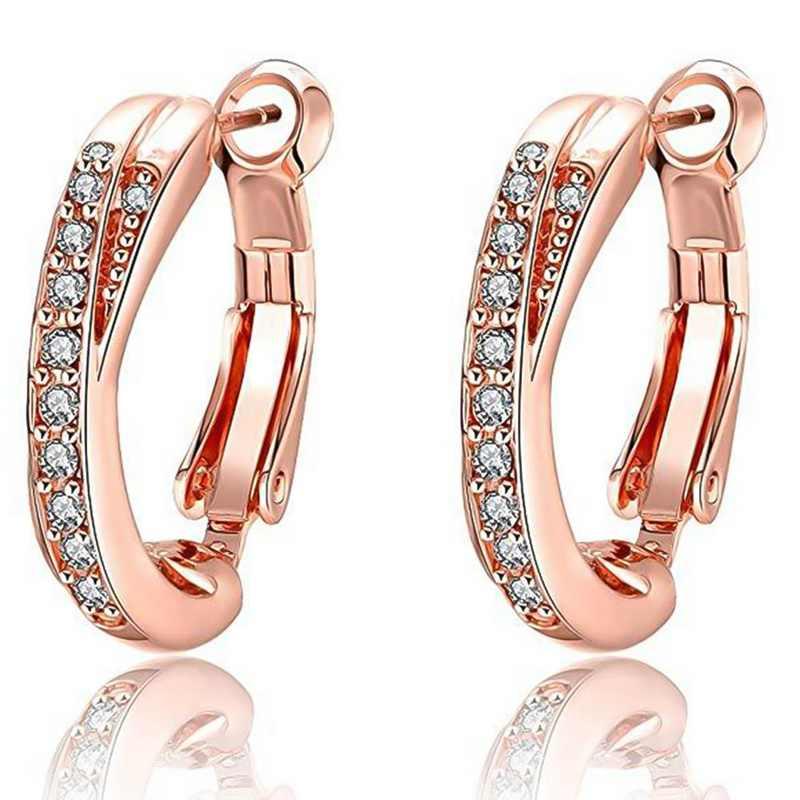 Pendientes de joyería de moda pendientes de oreja de circón pendientes de Clip de hebilla de oro rosa brasileño pendientes de joyería