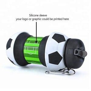 Image 3 - ความแปลกใหม่ฟุตบอลกีฬาน้ำขวดฟางพับเก็บได้ซิลิโคนท่องเที่ยวขวดของฉันนวัตกรรมCamping 550ml H1224