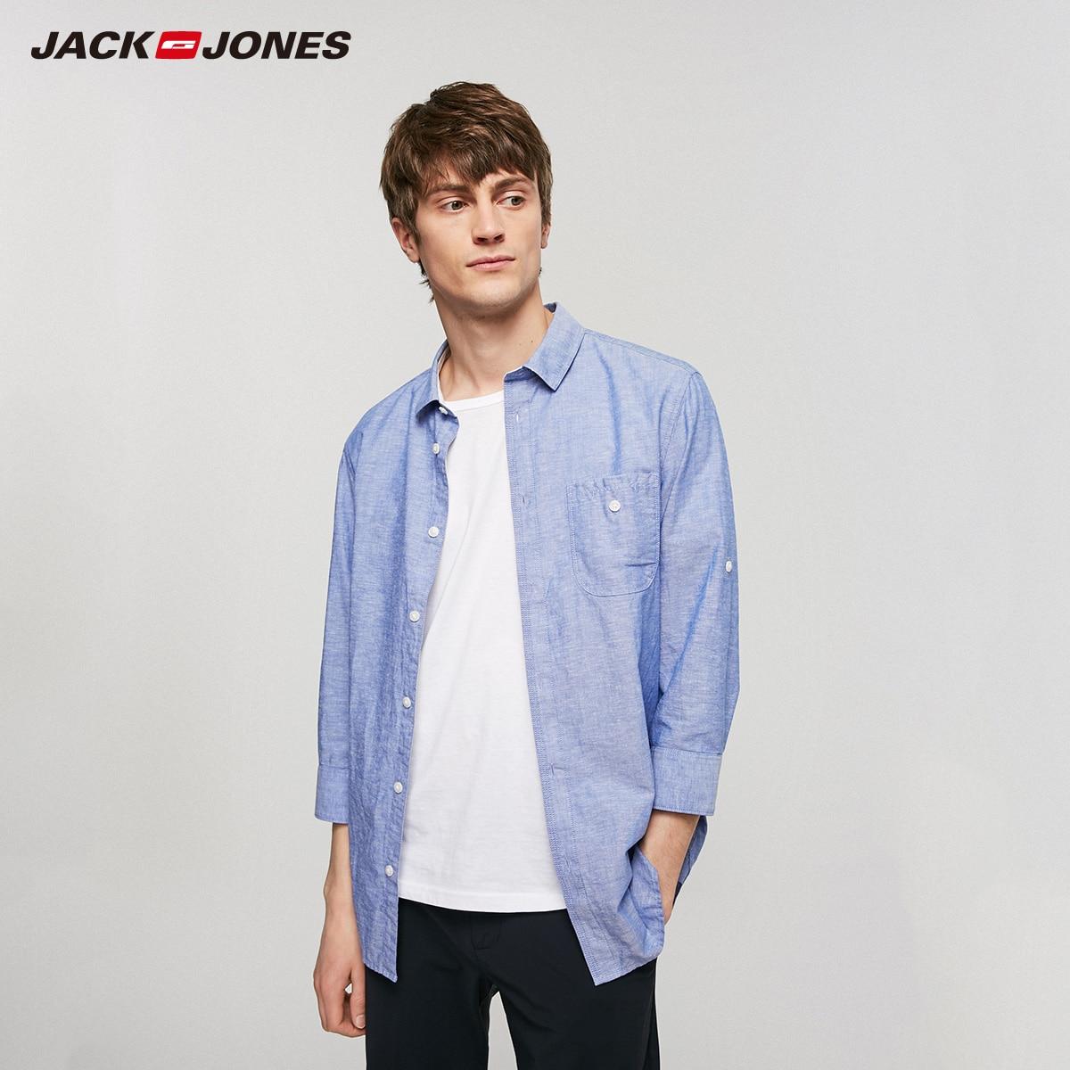 JackJones Men's Cotton Linen Rolled-up 3/4 Sleeves Style Shirt| 219231503