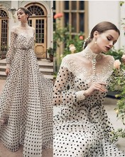 Vintage Lace Black And White Polka Dots Evening Dress Long Sleeves High Neck Arabic Kaftan Dubai Prom Dresses 2021 Formal Gowns