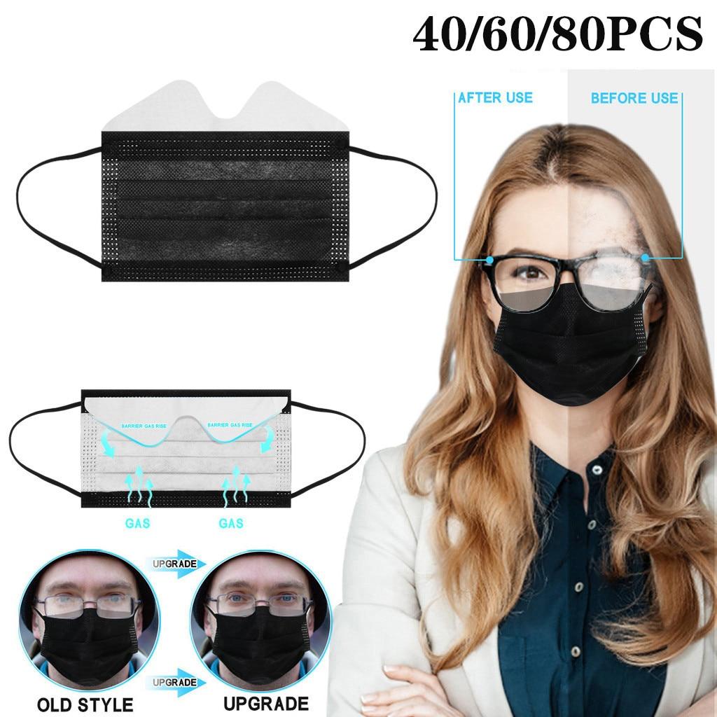 40/60/80 pces máscaras descartáveis descartáveis laváveis da cara das máscaras do preto da anti-névoa 3-ply tampões descartáveis da boca mascarillas
