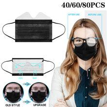 80 шт Анти-туман черный маски моющиеся одноразовые маски для лица 3-слойные фанерные нетканый рот шапки одноразовая маска для лица