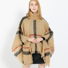 2019 New Design Winter Warm Bohemia plaid Ponchos And Capes For Women Oversized Shawls Wraps Cashmere Pashmina Female Bufanda