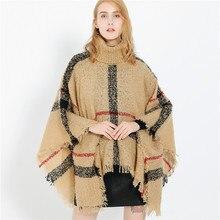 Ponchos y capas a cuadros bohemios cálidos para mujer, chales de gran tamaño, Pashmina de Cachemira, Bufanda femenina, invierno, 2019