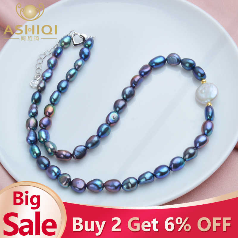 ASHIQI Black Natural Freshwater Baroque Pearl choker Necklace for Women 925 Sterling Silver Jewelry Fashion Necklaces 2019